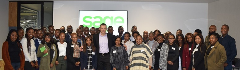 Pieter Bensch, Executive Vice President for Sage Africa & Middle East, with the interns.