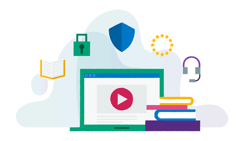 brightly coloured illustration of a laptop and a stack of books surrounded by icons representing business tools