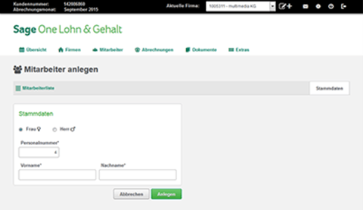 Screenshot einer Sage Software