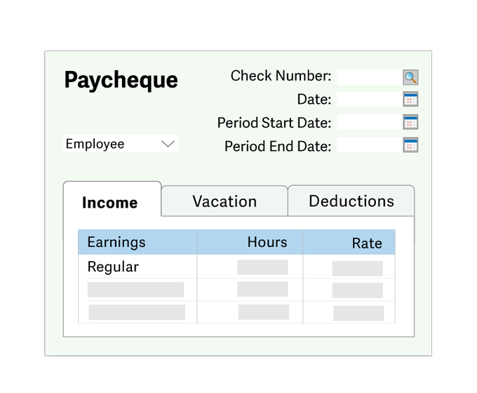 Illustration of paycheque input