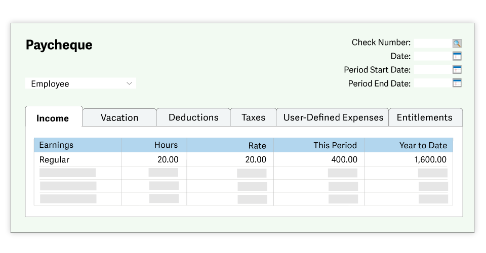 Paycheque screen in Sage 50