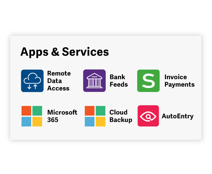 Apps & Services with Remote Data Access, Bank Feeds, Invoice payments, Microsoft 365, Cloud Backup, and AutoEntry