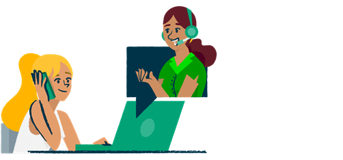 Illustration of a woman on the phone with phone support
