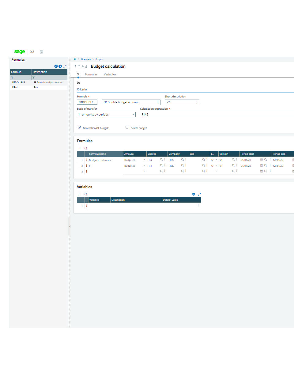 Screenshot of the Sage X3 budget calculation tool