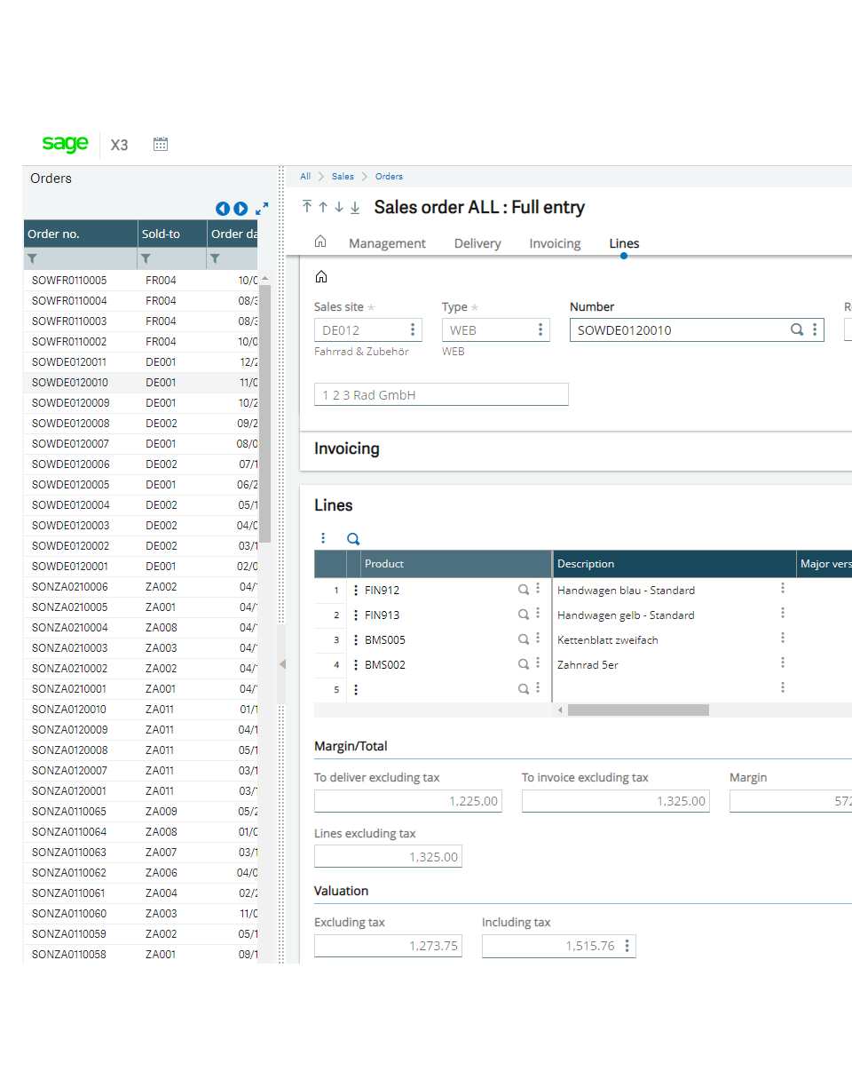 Screenshot of the Sage X3 sales order screen