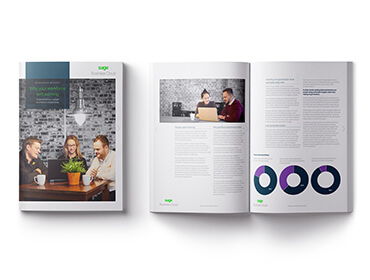 Cover and spread of Sage whitepaper, Why Your Workforce Isn't Working