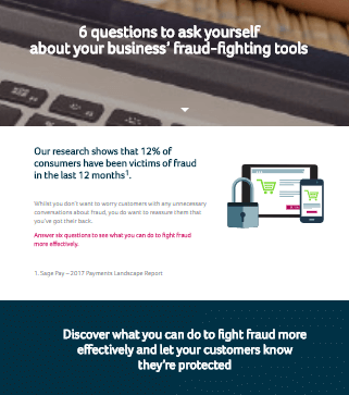 Front page of Sage guide, 6 Questions to Ask Yourself About Your Businesses' Fraud-Fighting Tools