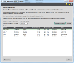 Screenshot of transactions dialogue box