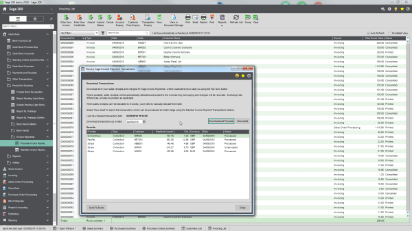 Screenshot of Sage 200 payment transaction software