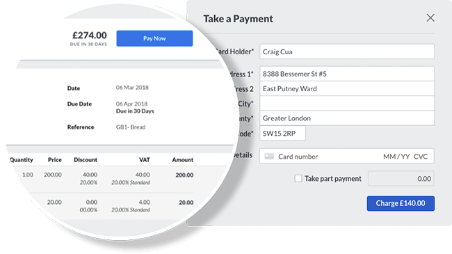 Screenshot of tailored invoice and pay now button