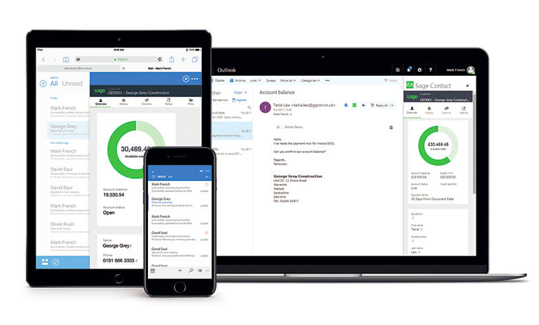 Laptop, tablet and smartphone with Sage 50cloud and Office 365 integrated on screen