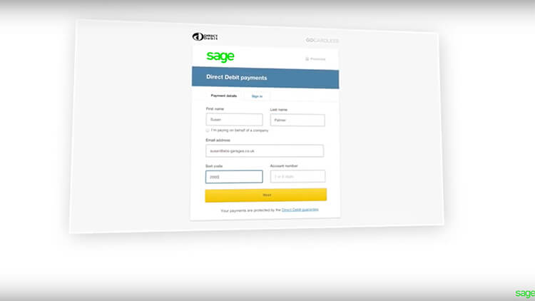 Sage Direct Debit payments form