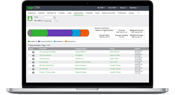 Laptop with Sage CRM opportunites tab on screen