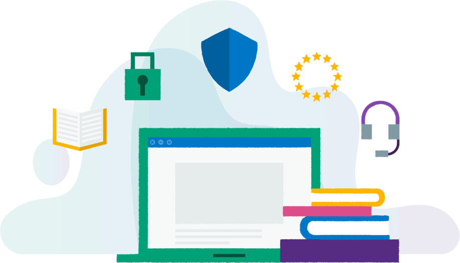 Colourful illustration of a laptop and a stack of books surrounded by icons representing business tools