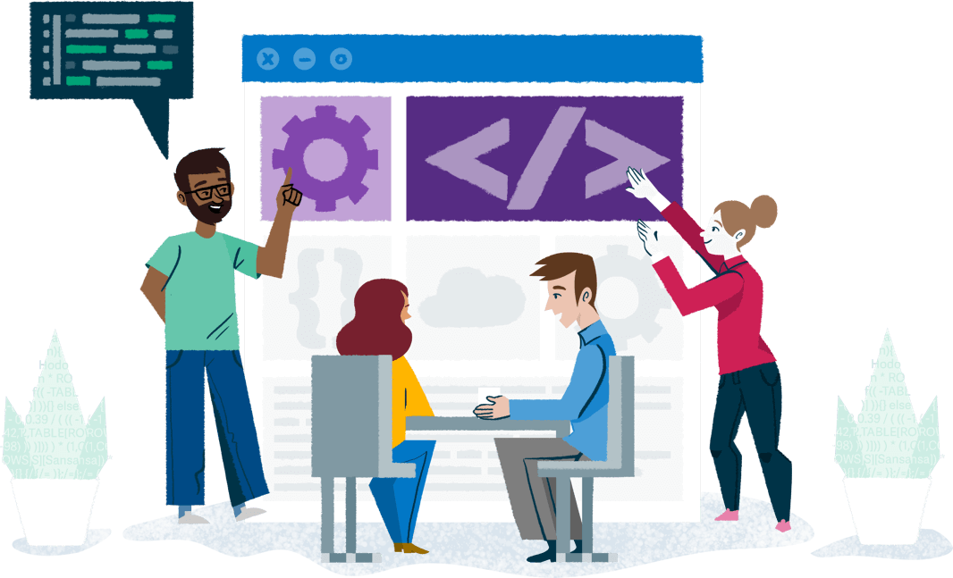 Colourful illustration of a group of people in an office working on a giant computer window
