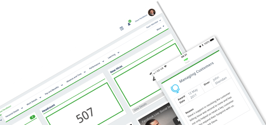 Screenshots of Sage People platform