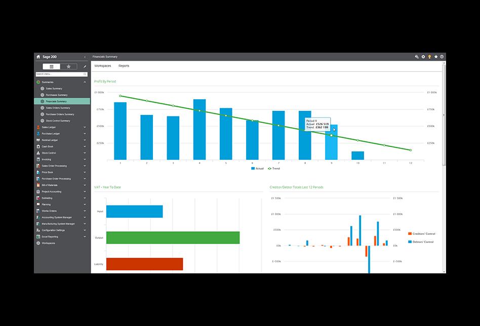Screenshot of Sage 200 financials summary screen