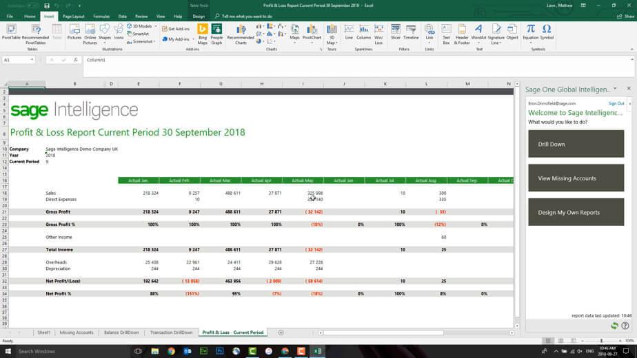 Screenshot of Sage Intelligence profit and loss spreadsheet