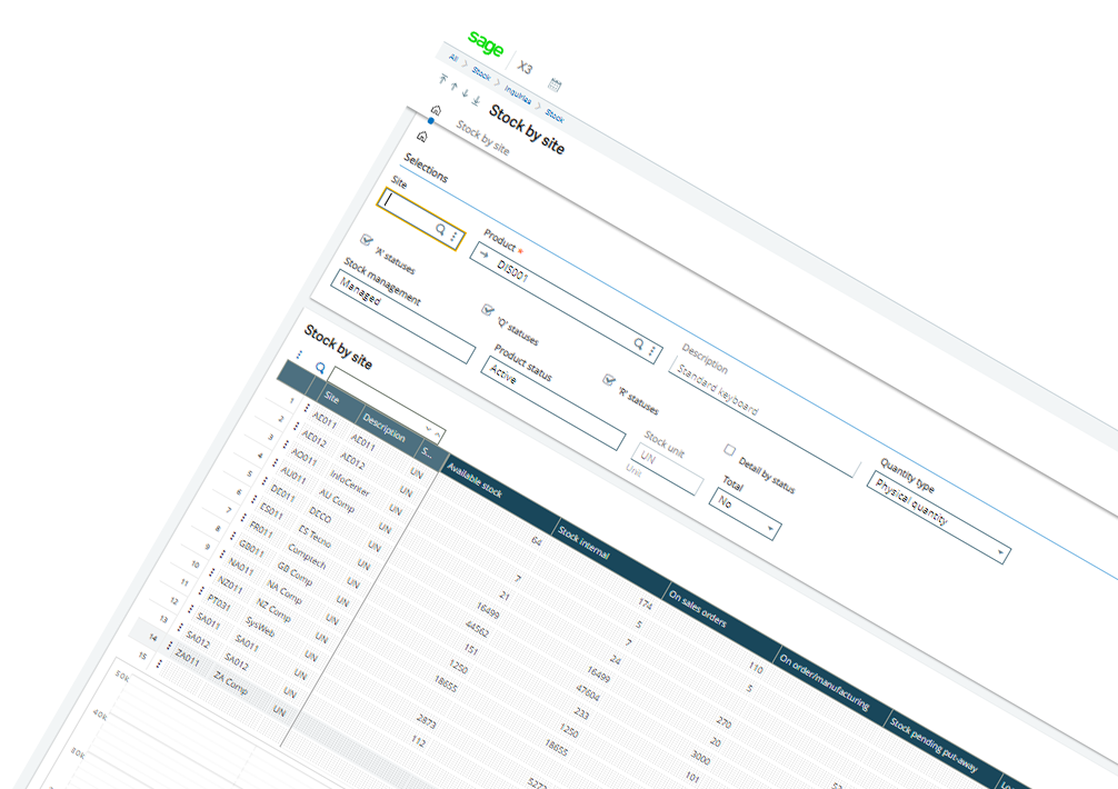 Screenshot of Sage Enterprise Management stock management