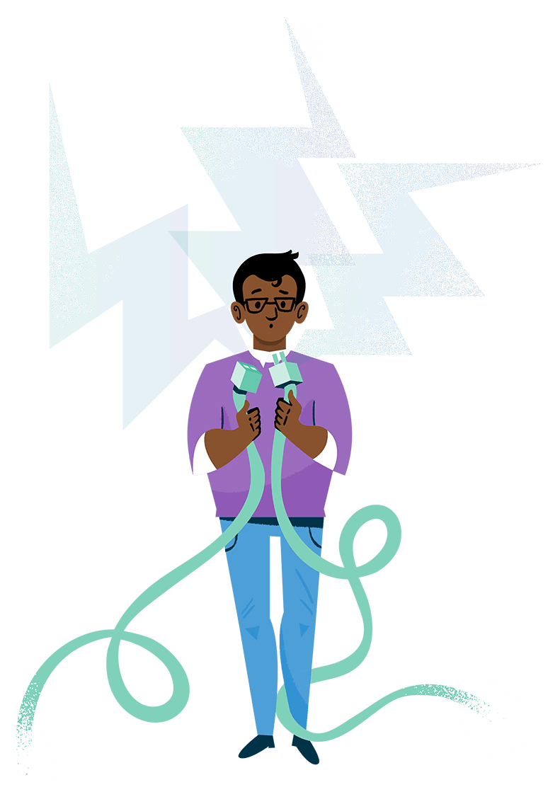 Colourful ilustration of a confused man holding two unplugged wires