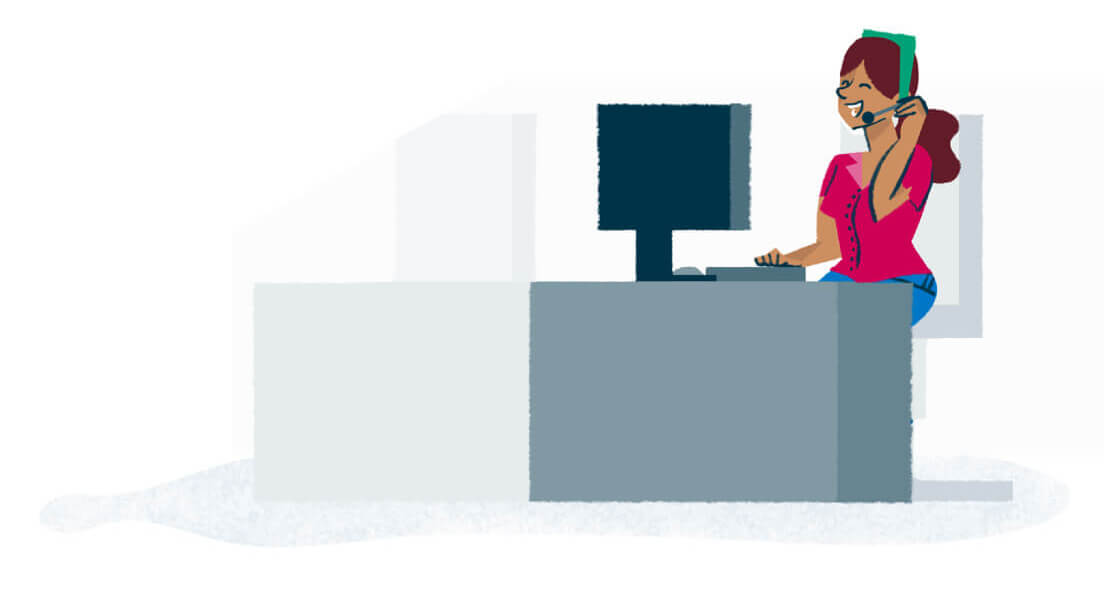 Colourful illustration of a smiling woman sitting at a computer and speaking on a telephone headset