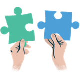 puzzle and hands icon