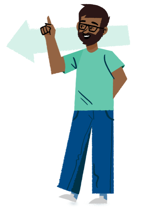 Support page illustration: man standing and pointing