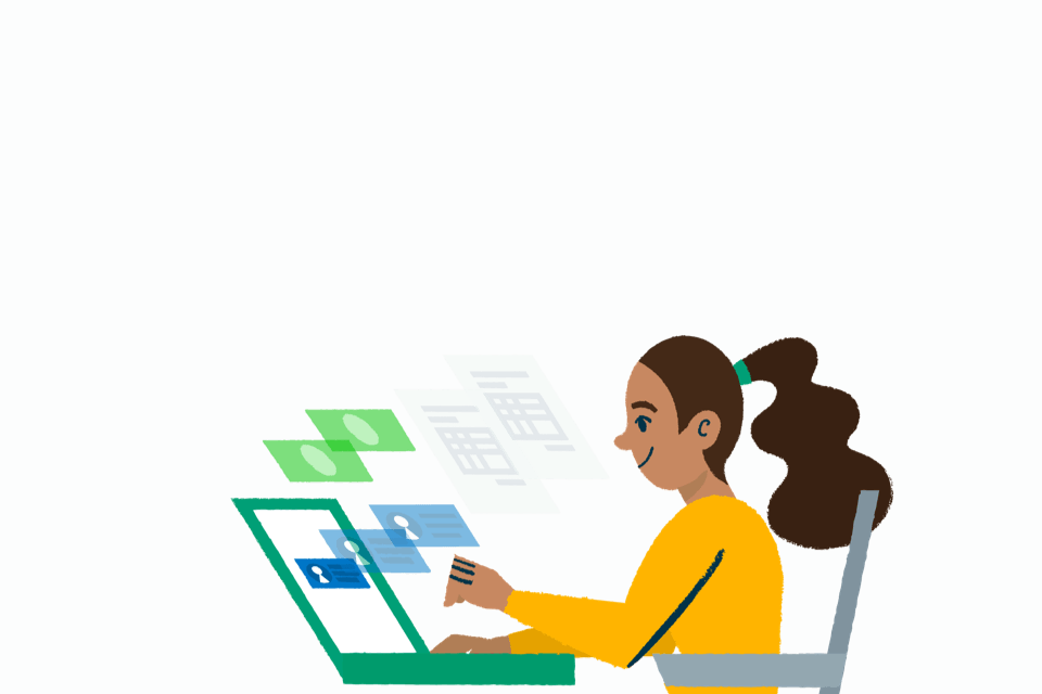 Sage Marketplace list your app illustration with woman sitting in front of laptop