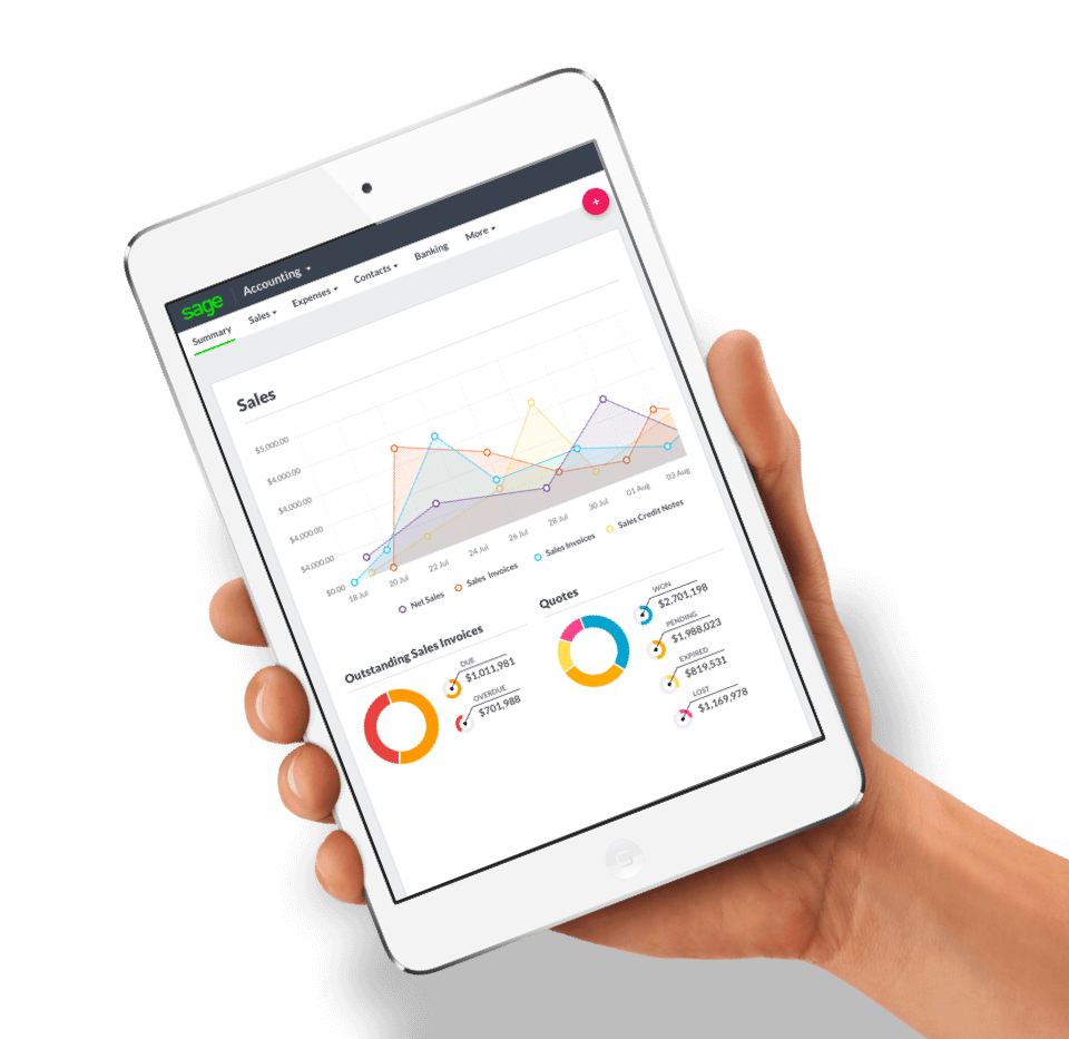 Hand holding a tablet with Sage Accounting on screen