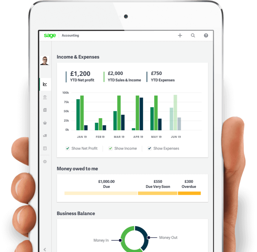 Hand holding a smartphone with Sage Business Cloud Accounting open on the screen