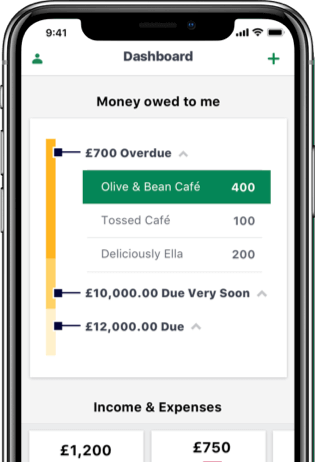 Smartphone with Sage Business Cloud Accounting open on the screen