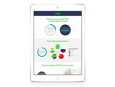 Tablet with Sage guide to Getting Started with VAT in International Trade on screen