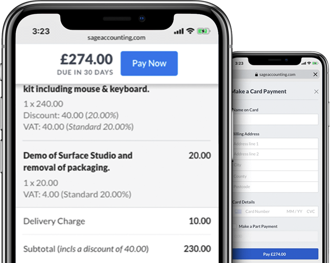 Smartphone with Sage Business Cloud Accounting payments on screen
