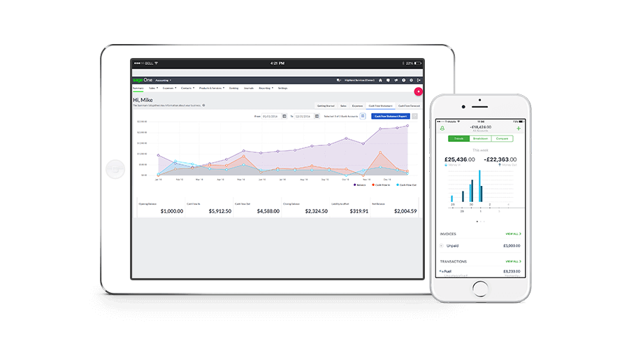 Tablet and smartphone with Sage Business Cloud Accounting dashboard on screen
