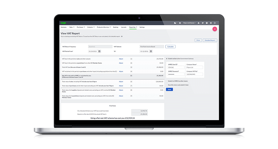 Laptop with Sage Business Cloud Accounting VAT management on screen