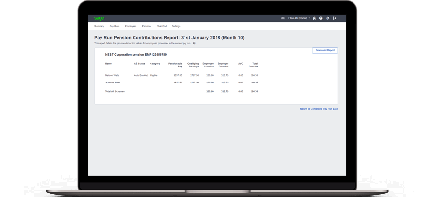 Laptop with Sage Business Cloud Accounting pensions contributions report on screen