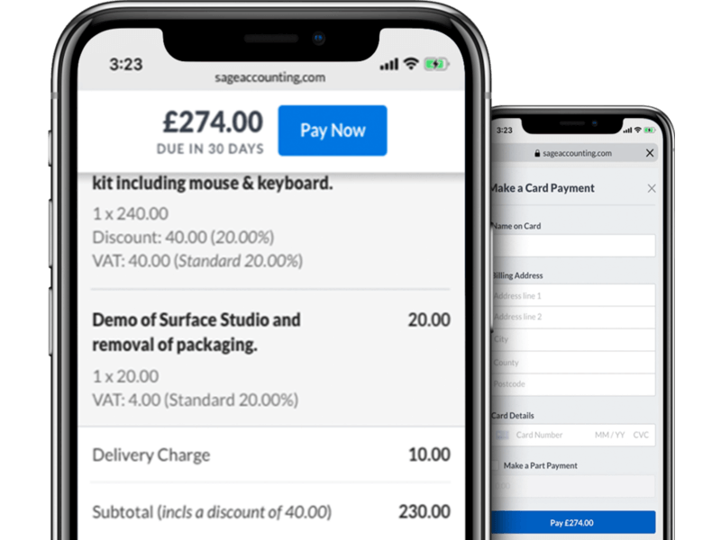 Smartphones with Sage Business Cloud Accounting invoice processing on screen