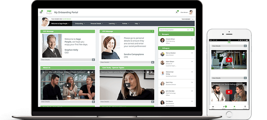 Laptop with Sage People onboarding portal on screen