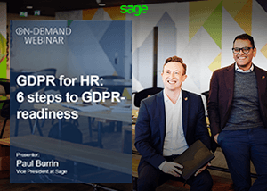 Title screen for Sage webinar, GDPR for HR: Six Steps to GDPR Readiness