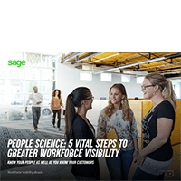 Front cover of Sage guide, People Science: 5 Vital Steps to Greater Workforce Visibility