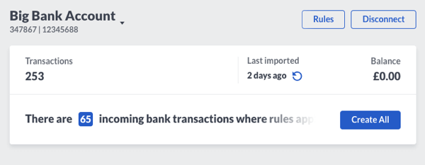 Sage Business Cloud Accounting  - Bank Rules Screen