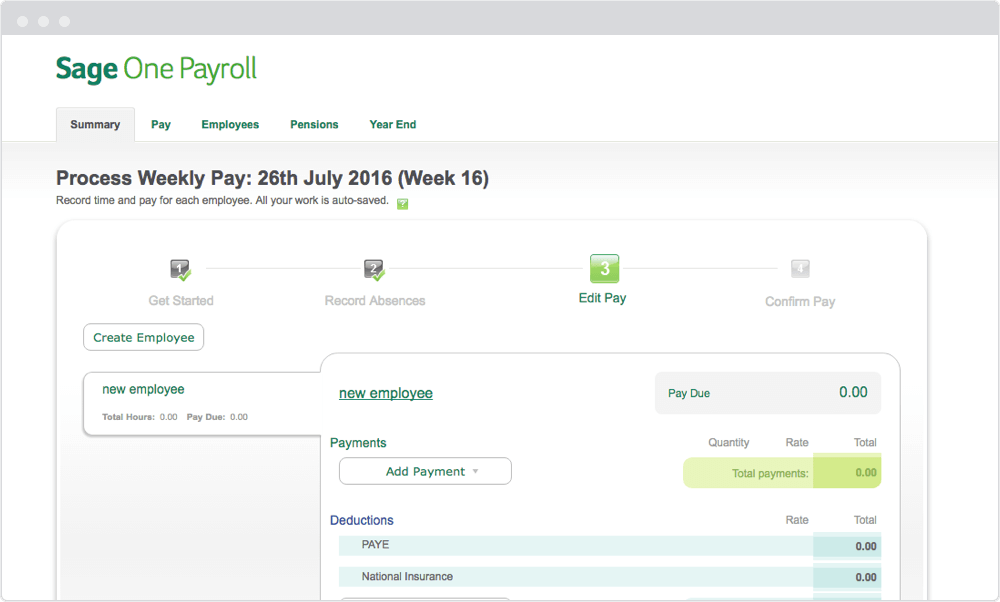 Screenshot of Sage One Payroll screen