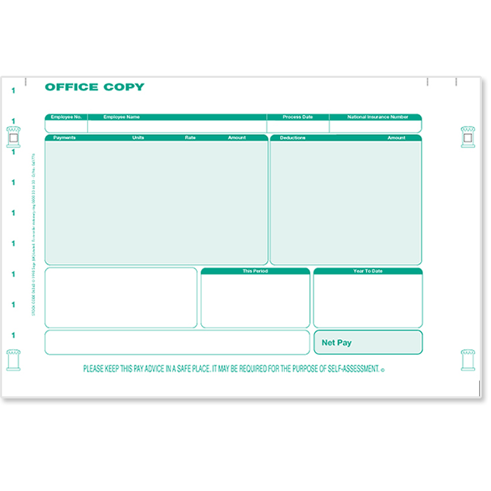 Sage Continuous Payslip Plus - 2 Part Green