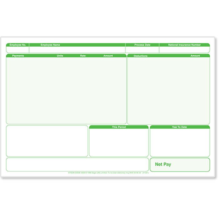 Sage Laser Payslip Plus - Green