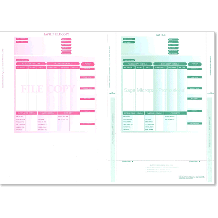 2 Part Laser Security Payslips (includes file copy)
