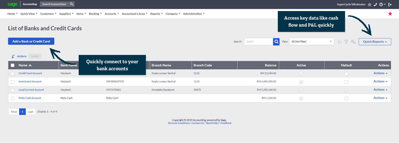 Sage Business Cloud Accounting product screenshot for Connect your bank