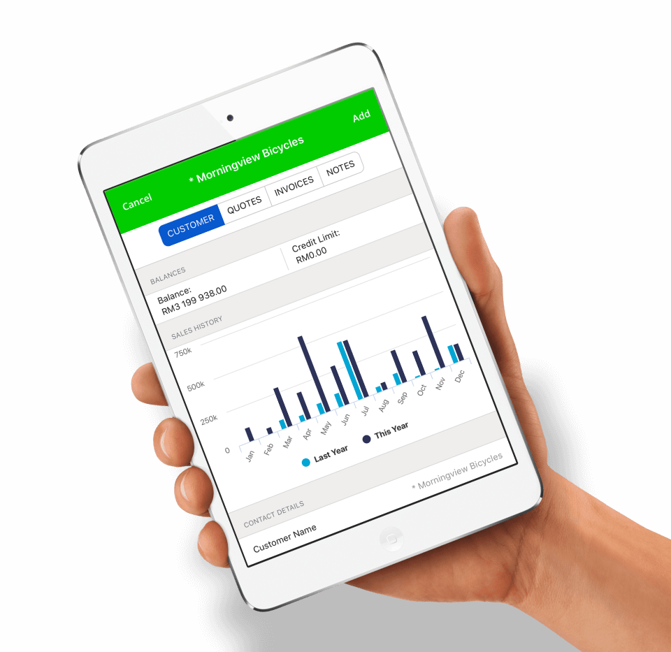 Hand holding mobile device with Sage Business Cloud Accounting screenshot