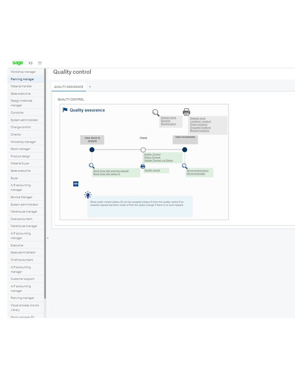 Screenshot of the Sage Enterprise Management quality control screen