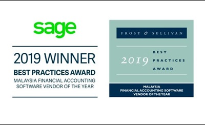 Sage wins Frost and Sullivan Best Practices Award for Malaysia Financial Accounting Software Vendor of the Year 2019