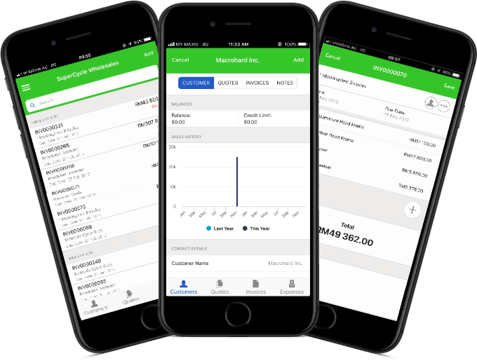 Mobile screenshots of Sage's accounting software